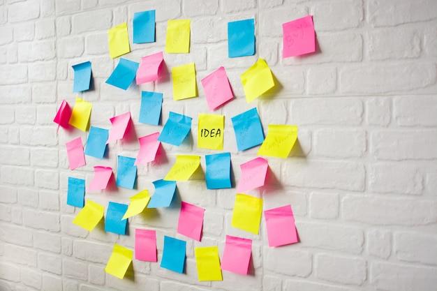 Plan de negocios realizado con notas de colores en la pared blanca