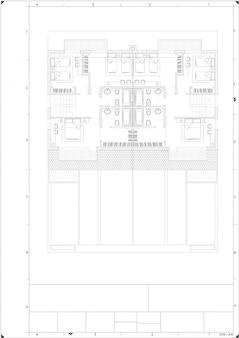 Plan parte del proyecto arquitectónico sobre el papel blanco.