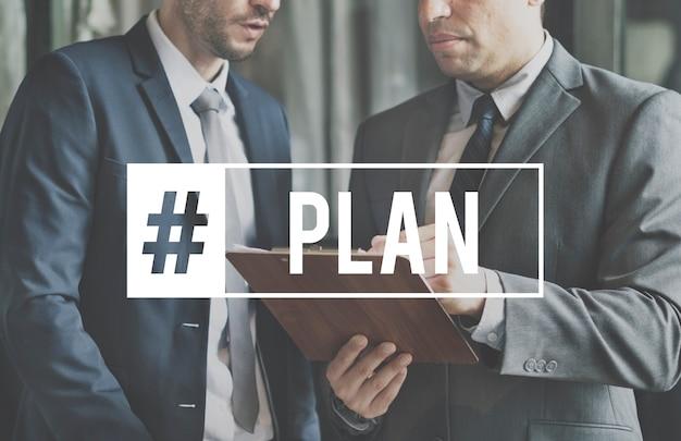 Plan de planificación asociación hashtag word