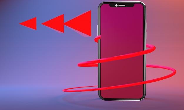Plan de triángulos de reproducción de música de teléfono inteligente en lugares opuestos de triángulos digitales entre trazos