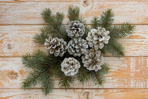 Planas y lindas agujas de pino de invierno y conos de coníferas