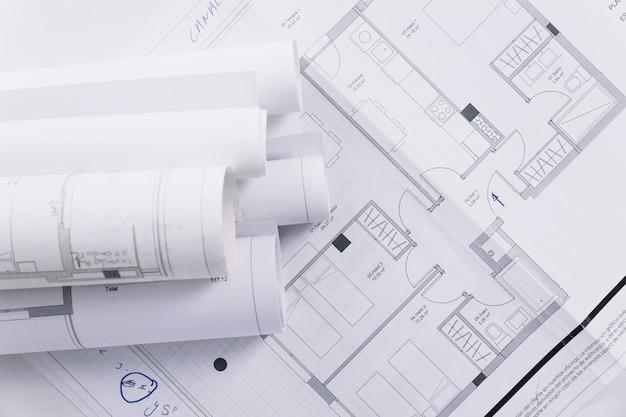 Planes de construcción de primer plano