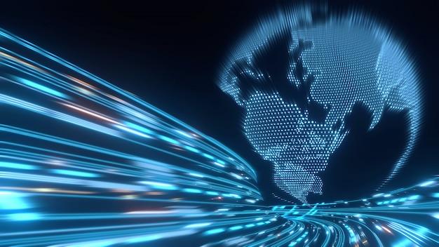 Planeta globo en puntos digitales y flujo de datos binarios