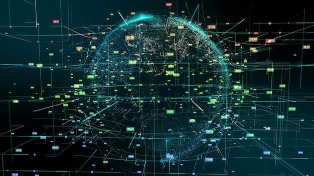 Planeta tierra ciberespacio partícula movimiento abstracto continentes digitales holograma