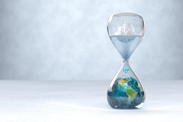 Planeta tierra en concepto de calentamiento global de reloj de arena