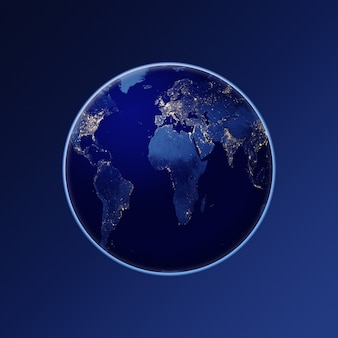 Planeta tierra un globo del planeta tierra desde el espacio por la noche elementos de imagen proporcionados por la nasa