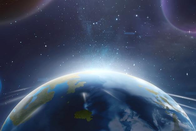 Planeta tierra con luna y galaxia vía láctea.