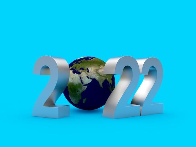 Planeta tierra con plata número de año nuevo.