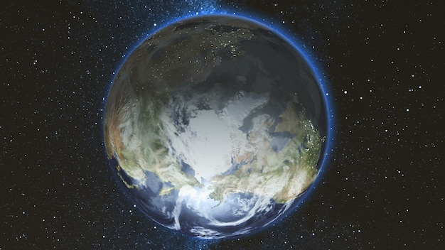 Planeta tierra realista girando sobre su eje en el espacio contra el fondo del cielo estrellado sin costuras