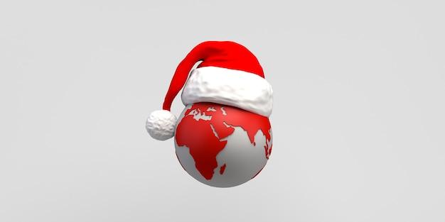 Planeta tierra con sombrero de santa claus. copie el espacio. ilustración 3d.