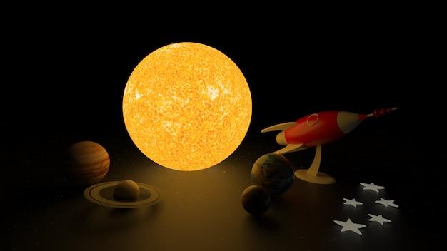 Planetas y cohetes de representación 3d.