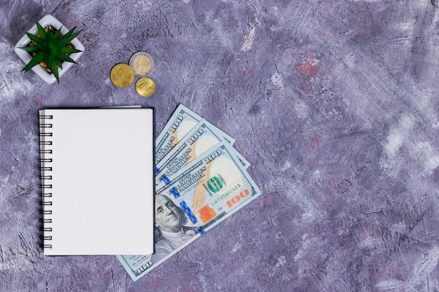 Planificación de ingresos y gastos para apoyar un negocio con un cuaderno, monedas y billetes sobre un fondo gris