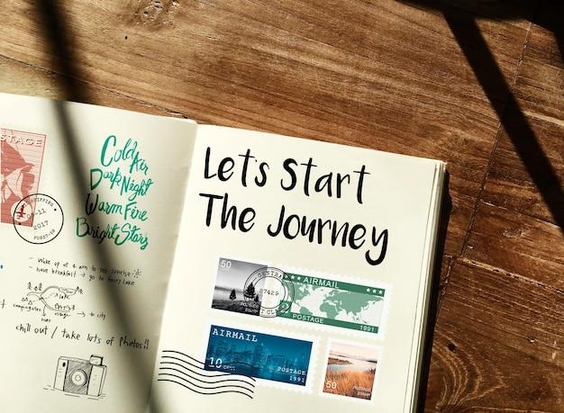 Planificación de notas de viaje de viaje wanderkust