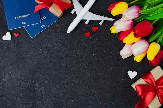 Planificación de viajes de vacaciones. tarjeta de felicitación para el día de san valentín o el día de la mujer.