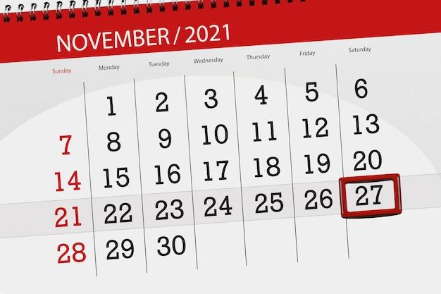 Planificador de calendario para el mes de noviembre de 2021, fecha límite, 27, sábado.