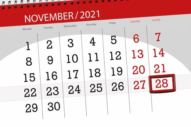 Planificador de calendario para el mes de noviembre de 2021, fecha límite, 28, domingo.