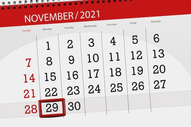 Planificador de calendario para el mes de noviembre de 2021, fecha límite, 29, lunes.