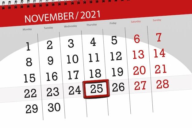 Planificador de calendario para el mes de noviembre de 2021, fecha límite, jueves 25.