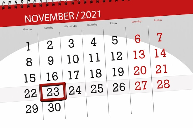 Planificador de calendario para el mes de noviembre de 2021, fecha límite, martes 23.