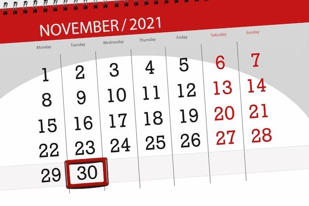 Planificador de calendario para el mes de noviembre de 2021, fecha límite, martes 30.