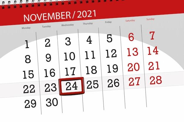 Planificador de calendario para el mes de noviembre de 2021, fecha límite, miércoles 24.