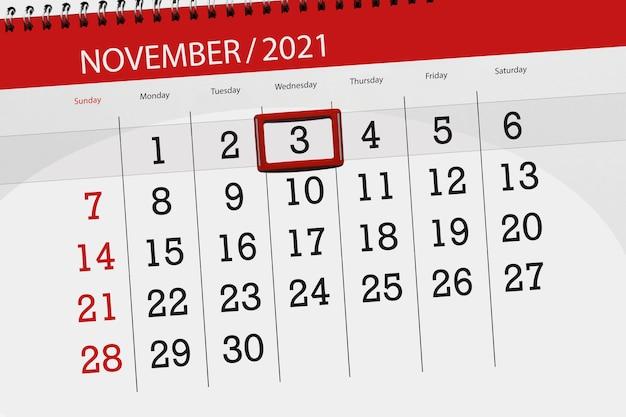 Planificador de calendario para el mes de noviembre de 2021, fecha límite, miércoles 3.
