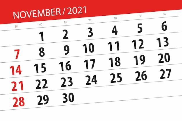 Planificador de calendario para el mes de noviembre de 2021, fecha límite.