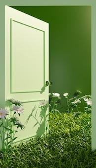 Plano cerrado de una puerta verde abierta con vegetación y flores en el suelo. ilustración 3d