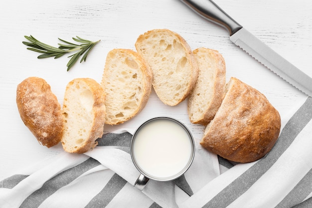 Plano de concepto de delicioso pan