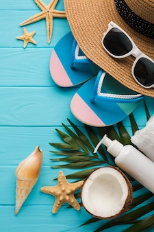 Plano concepto de playa con conchas marinas.