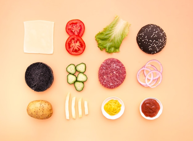Plano de ingredientes de hamburguesas