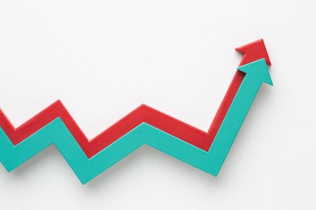 Plano de presentación de estadísticas con flechas.