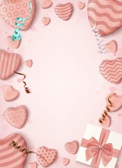 Plano vertical rosa con corazones de caramelo realistas, cintas y una caja de regalo.
