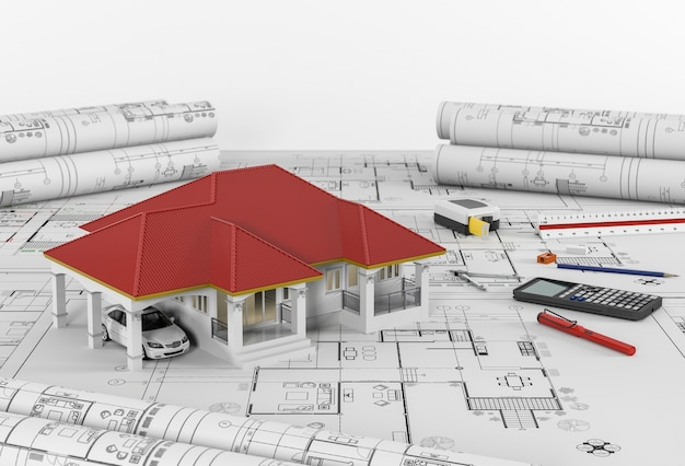 Planos de construcción con herramientas de dibujo y casa. 3 días
