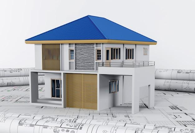 Planos de construcción con herramientas de dibujo y concepto de casa, arquitectura e ingeniería.