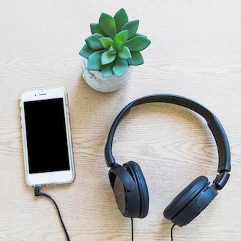 Planta de cactus; teléfono celular y auriculares en la planta de madera