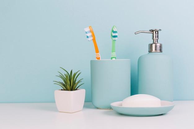 Planta cerca de jabón y cepillos de dientes