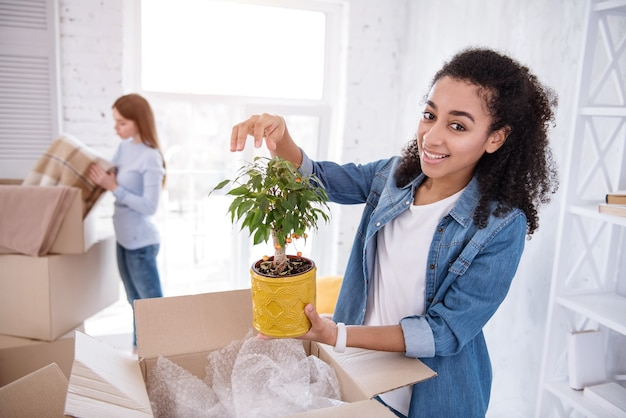 Planta favorita. hermosa chica de pelo rizado posando con una planta mientras su compañera de cuarto desempaca una manta, después de mudarse a un piso compartido