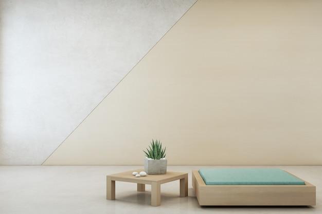 Planta de interior en mesa de centro de madera y muebles mínimos con muro de hormigón vacío.