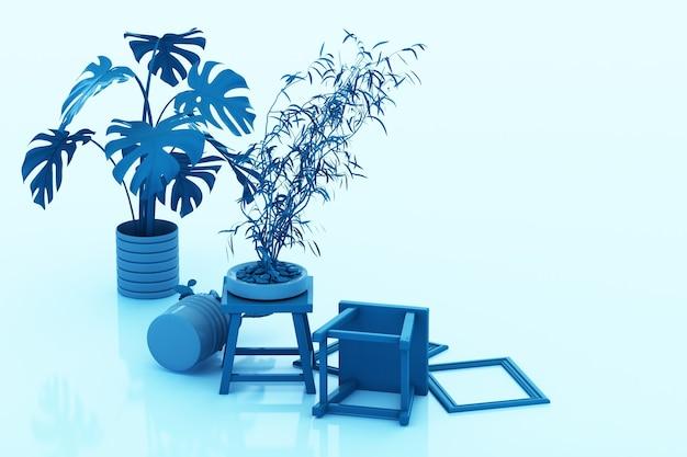 Planta en maceta, cactus, marco y lápiz sobre fondo azul. representación 3d