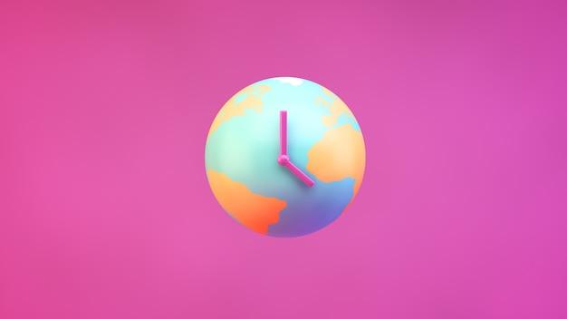 Planta de tierra con agujas del reloj sobre un fondo rosa
