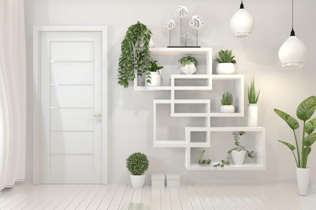 Plantas en estantería de pared de diseño minimalista.