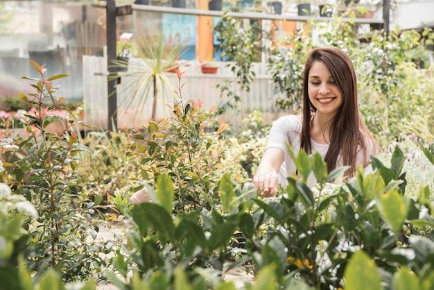 Plantas de examen de la mujer feliz en invernadero