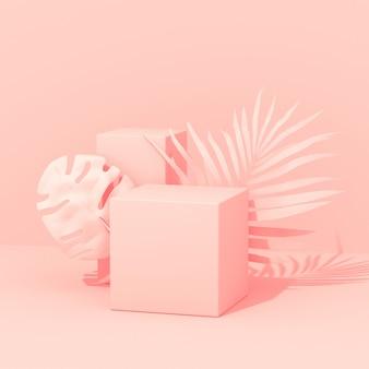 Plantas exóticas con formas geométricas. diseño tropical. pared con palma pintada y hojas de monstera. arte conceptual rosa mínimo. render 3d.
