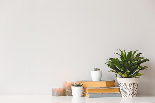 Plantas de interior verdes con velas aromáticas y libros sobre la mesa contra un fondo claro