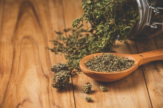 Plantas de marihuana legalmente plantadas en suelos de madera.