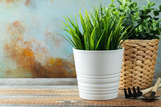 Plantas verdes artificiales en macetas de una flor blanca.