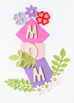 Plantas de vista superior para el día de la madre.