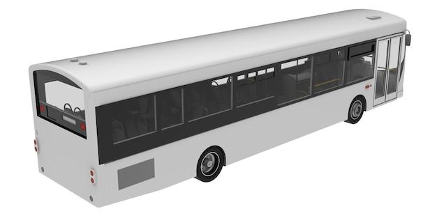 Plantilla de autobús blanco de la ciudad. transporte de pasajeros. ilustración 3d