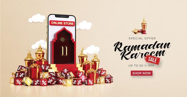 Plantilla de banner de venta de ramadan kareem con compras en línea 3d en aplicaciones móviles